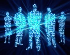binærkoder på 5 menneskesiluetter